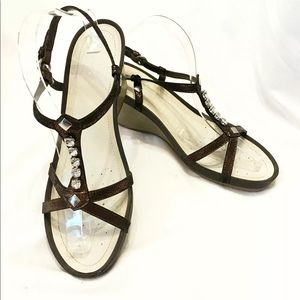 Geox brown rhinestone wedge sandals 39.5